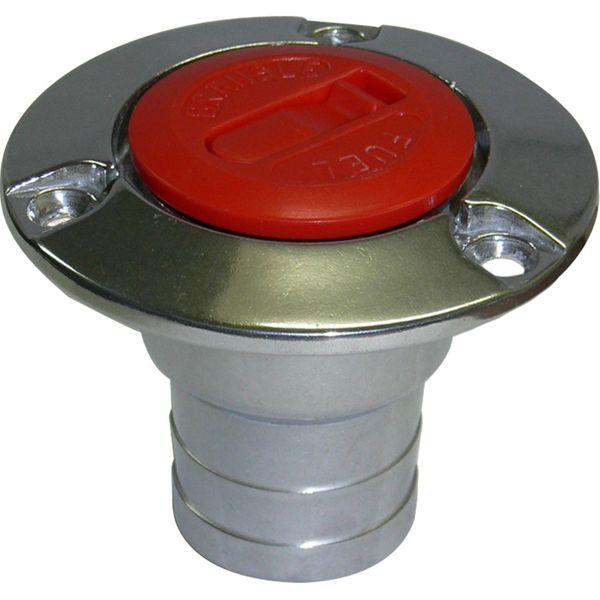 "Roca Aluminium Fuel Filler for 38mm (1-1/2"") Hose with Red Flip Lid"