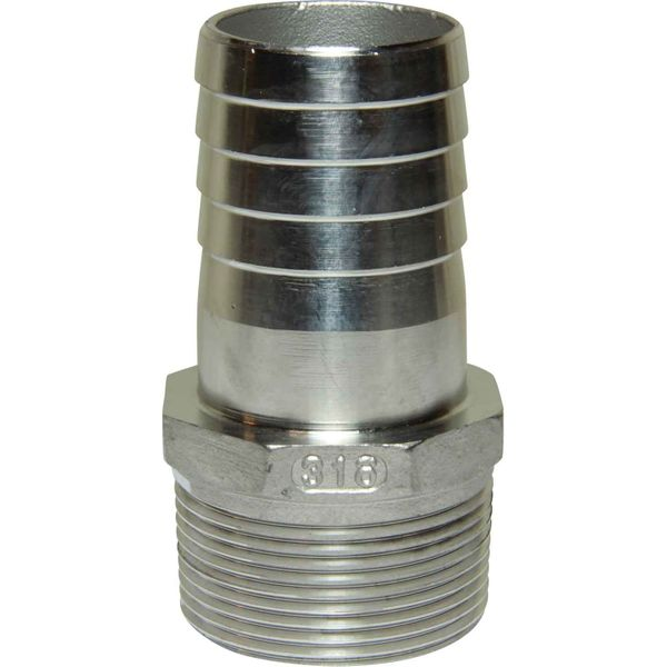 """Seaflow Stainless Steel 316 Hose Tail (1-1/2"""" BSP Male to 40mm Hose)"""