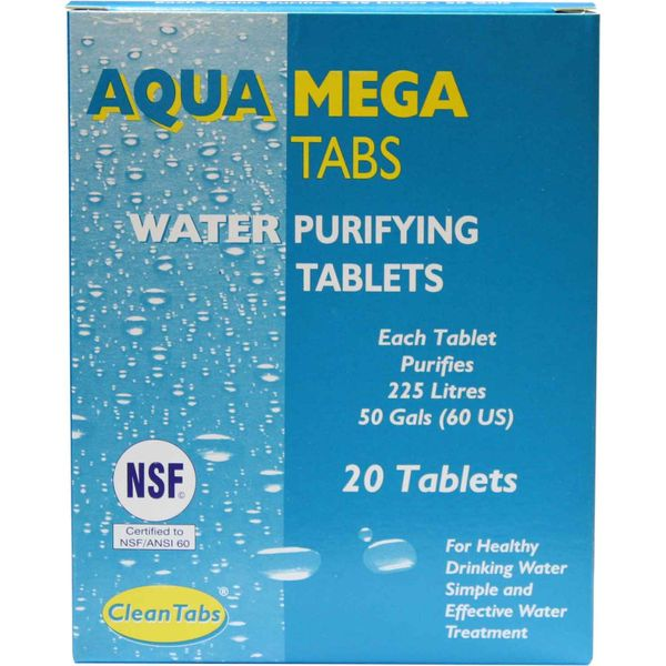 AquaTabs Mega Tabs Water Purifying Tablets (Box of 20)