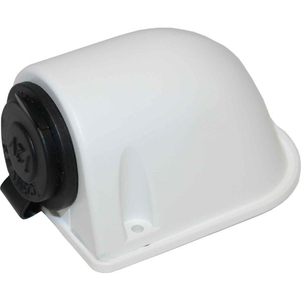Cigarette Lighter Surface Mount Socket and Cover (White Plastic)