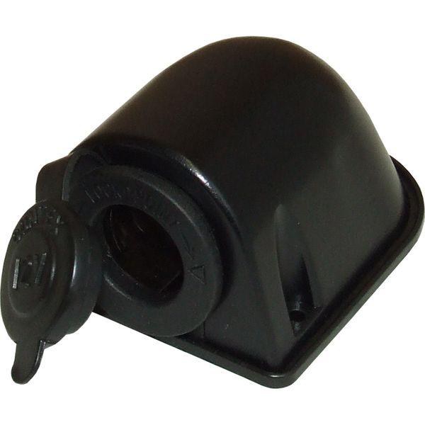 Cigarette Lighter Surface Mount Socket and Cover (Black Plastic)
