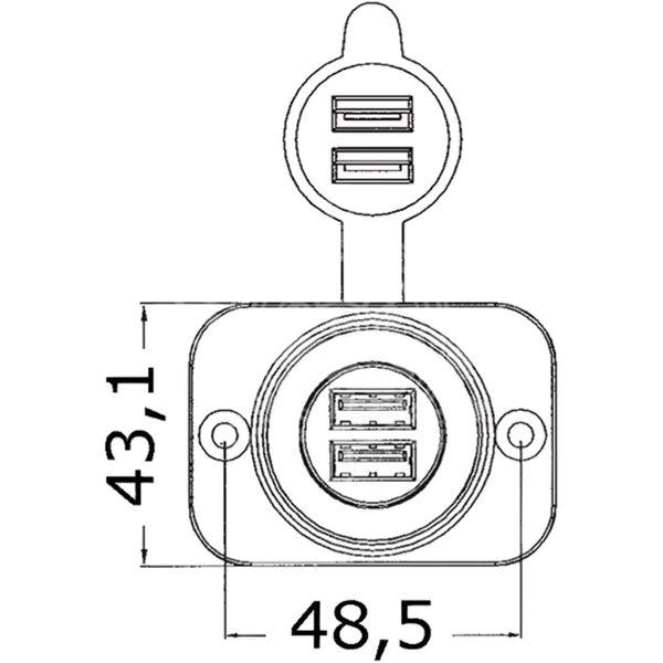 Osculati Double USB Cigarette Lighter Socket