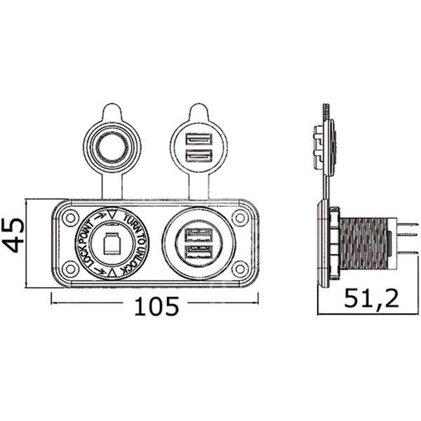 Osculati Double USB and Lighter Plug Cigarette Socket