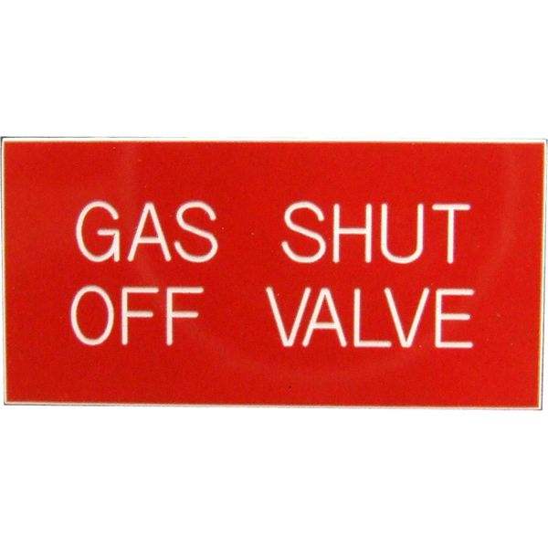 Gas Shut Off Valve Label (50mm x 25mm)