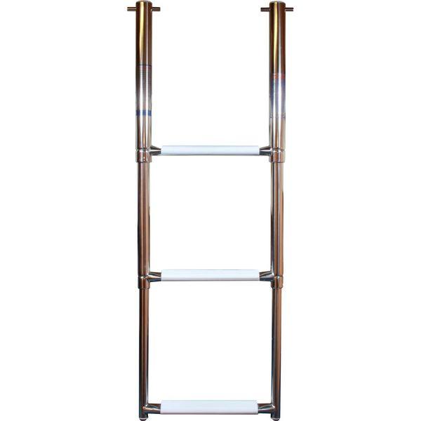 4Dek Stainless Steel Telescopic Folding Ladder (880 x 300mm / 3 Steps)