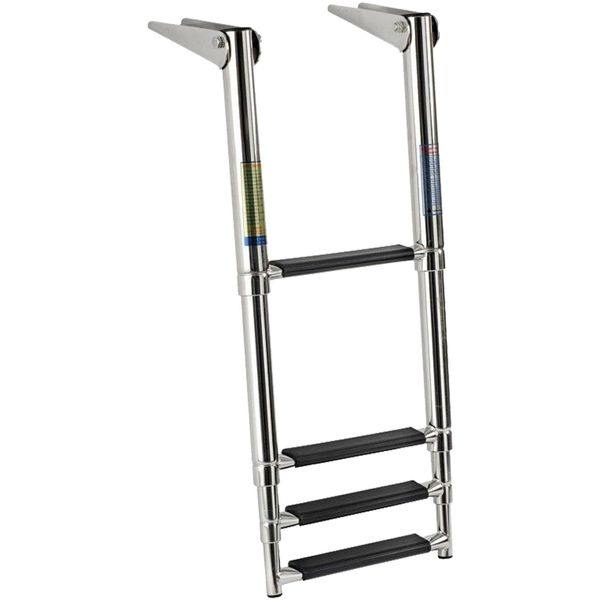 4Dek Stainless Steel Telescopic Ladder (1156 x 394mm / 4 Black Steps)