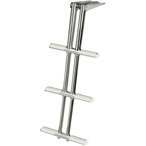 Stainless Steel Telescopic Ladder (870mm x 390mm / 3 White Steps)