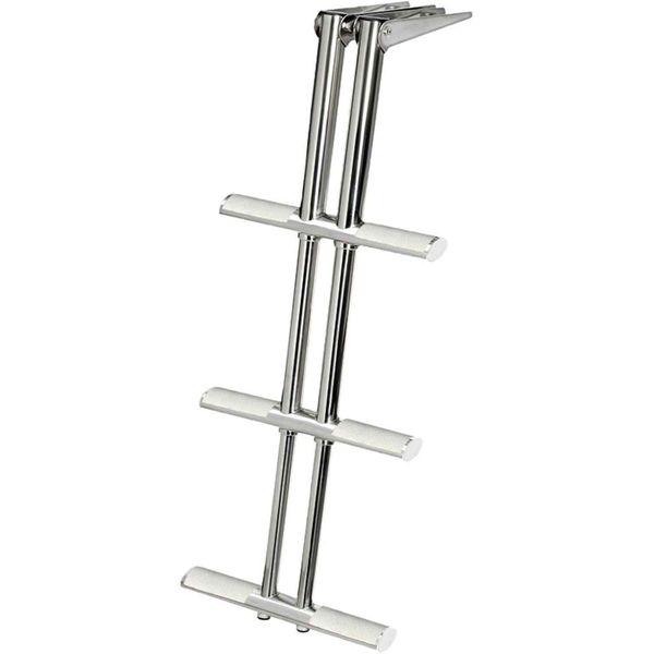 Stainless Steel Telescopic Ladder (870mm x 390mm / 3 White Steps)