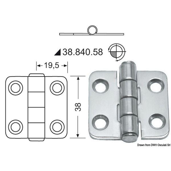 4Dek Stainless Steel Hinge (39mm x 38mm / Standard Pin)