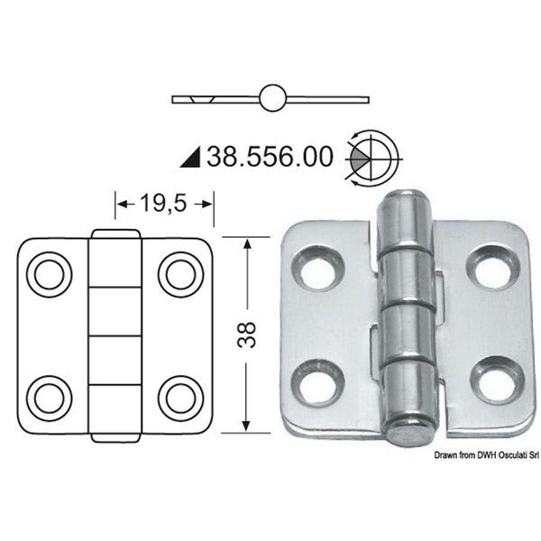 4Dek Stainless Steel Hinge (39mm x 38mm / Central Pin)