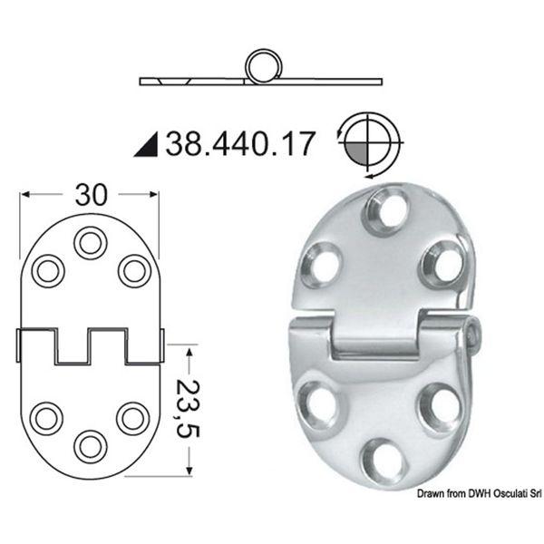 4Dek Stainless Steel Hinge (47mm x 30mm / Standard Pin)