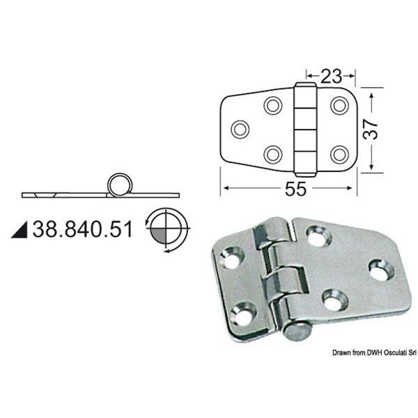 4Dek Stainless Steel Hinge (55mm x 37mm / Standard Pin)