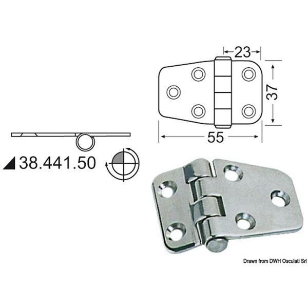 4Dek Stainless Steel Hinge (55mm x 37mm / Reversed Pin)