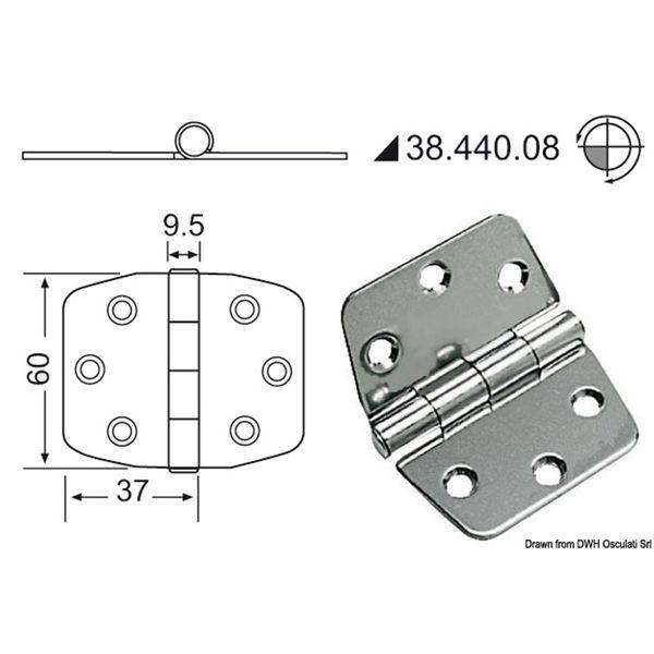 4Dek Stainless Steel Hinge (74mm x 60mm / Standard Pin)