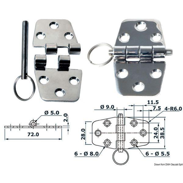 4Dek Stainless Steel Hinge (72mm x 38.5mm / Standard Pin)