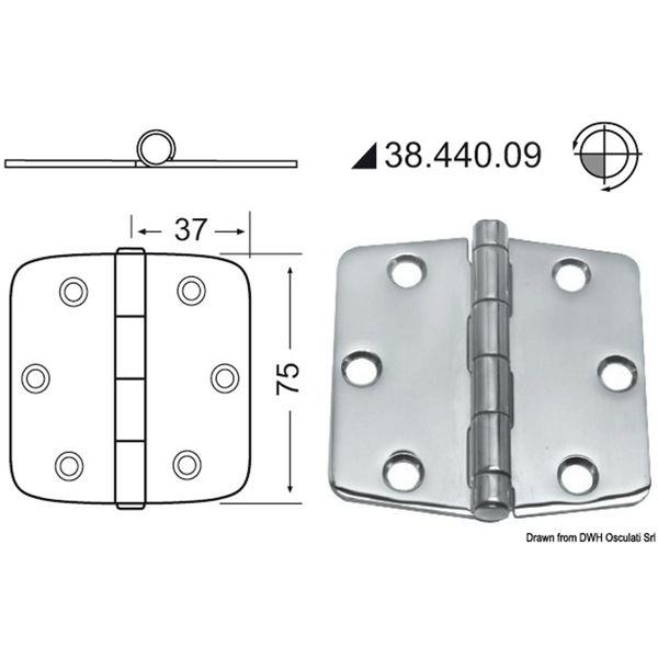 4Dek Stainless Steel Hinge (74mm x 75mm / Standard Pin)
