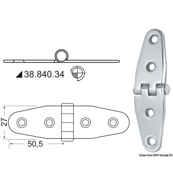 4Dek Stainless Steel Hinge (101mm x 27mm / Standard Pin)