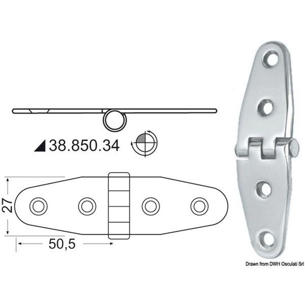 4Dek Stainless Steel Hinge (101mm x 27mm / Reversed Pin)