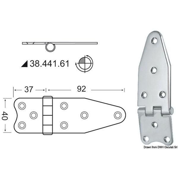 4Dek Stainless Steel Hinge (129mm x 40mm / Reversed Pin)