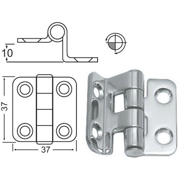 4Dek Stainless Steel Hinge (37mm x 37mm / Overhang)