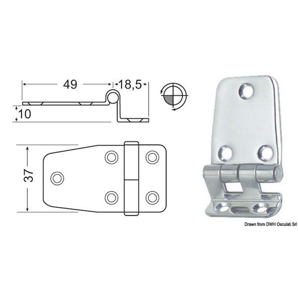 4Dek Stainless Steel Hinge (67.5mm x 37mm / Overhang)