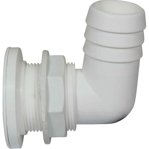 White Fire Port with 90 Degree Hose Adaptor for Fire Extinguisher