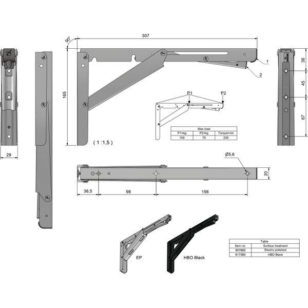 Roca Stainless Steel Folding Bracket (305mm x 20mm)