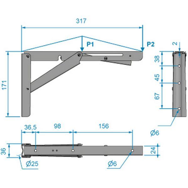 Roca Stainless Steel Folding Bracket (317mm x 24mm)