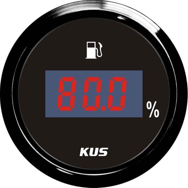 KUS Digital Fuel Level Gauge with Black Stainless Bezel (Euro)