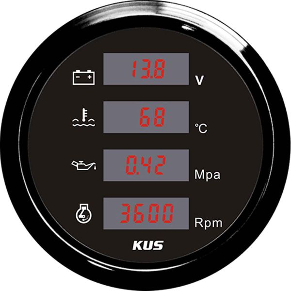 "KUS Combination Gauge in Black (4 in 1 Gauge / 3.4"")"