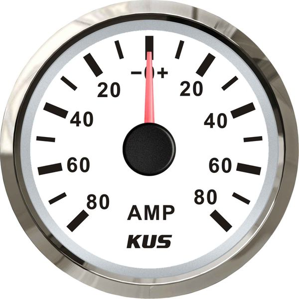 KUS Ammeter Gauge 80-0-80 Amps (Stainless Bezel / White Dial)