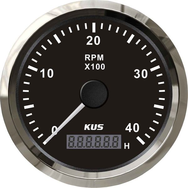 KUS Tachometer Gauge with Hourmeter (4000RPM / Stainless & Black)