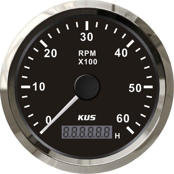 KUS Tachometer Gauge with Hourmeter (6000RPM / Stainless & Black)