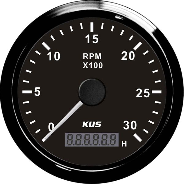 KUS Tachometer Gauge with Hourmeter (3000RPM / Black)