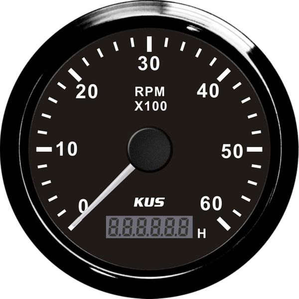 KUS Tachometer Gauge with Hourmeter (6000RPM / Black)