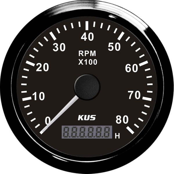 KUS Tachometer Gauge with Hourmeter (8000RPM / Black)