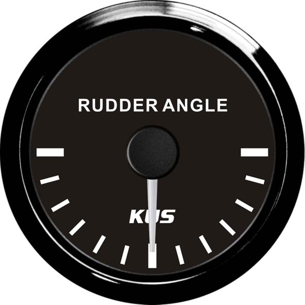 KUS Sea V Series Rudder Angle Gauge (Euro / Black Stainless Bezel)