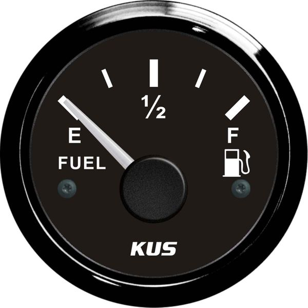 KUS Fuel Level Gauge with Black Stainless Bezel (Euro Resistance)