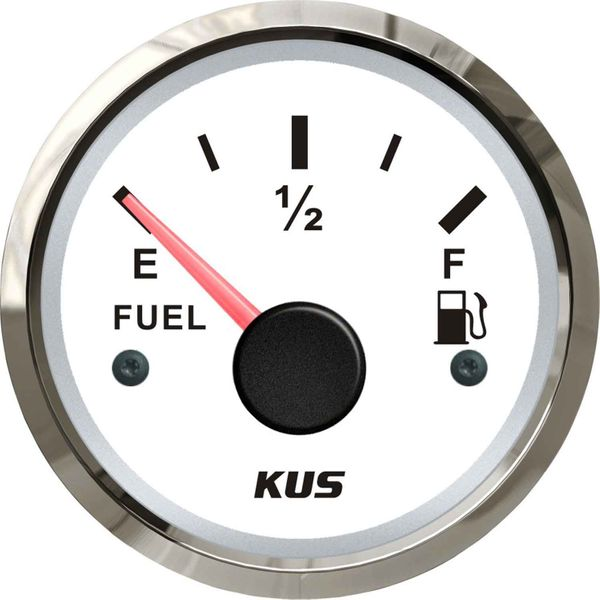 KUS Fuel Level Gauge with Stainless Bezel (White / Euro Resistance)