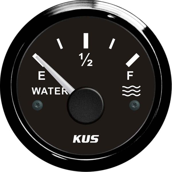 KUS Water Level Gauge with Black Stainless Bezel (Euro Resistance)