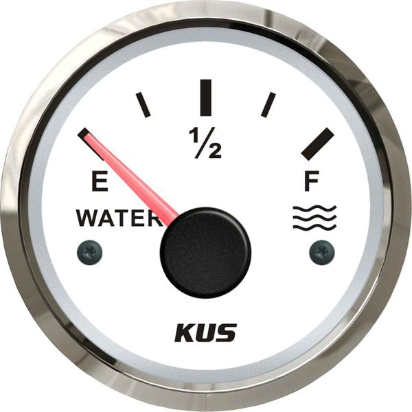 KUS Water Level Gauge with Stainless Bezel (White / Euro Resistance)