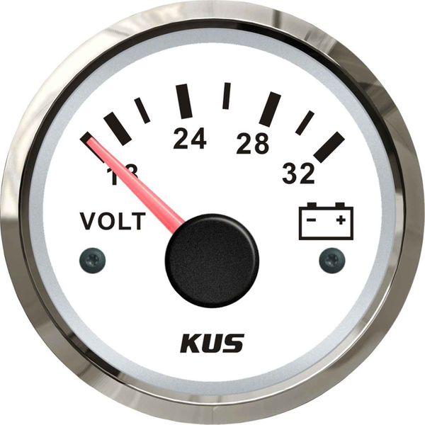 KUS Voltmeter Gauge with Stainless Steel Bezel (24V / White)