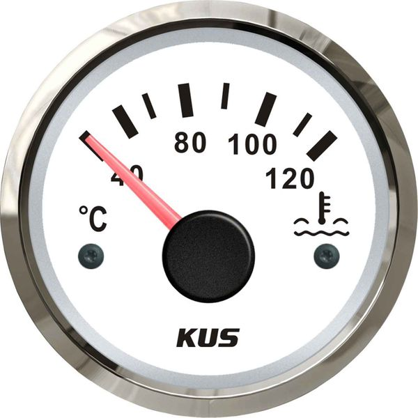 KUS Water Temperature Gauge with Stainless Bezel (120°C / White)