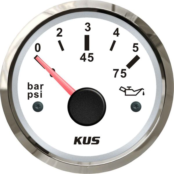 KUS Oil Pressure Gauge 5 Bar (Stainless Bezel / White Dial)